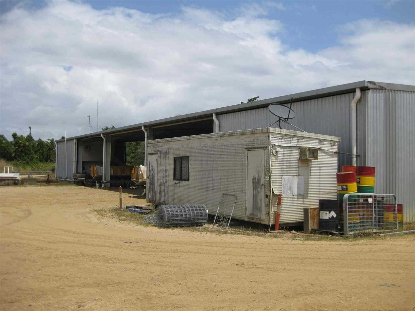 View of part of packing shed, photo 3 with donga in front