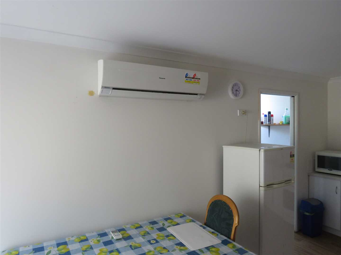 panasonic aircon and fridge,dining table in shed unit
