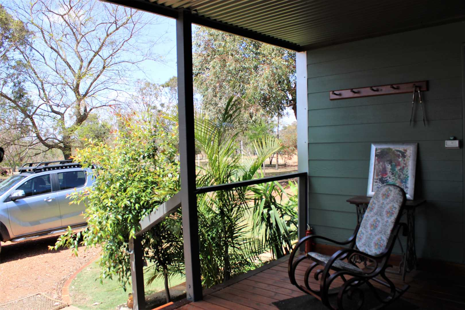 front decking, over looking parklands. footy oval, playground and home camping area