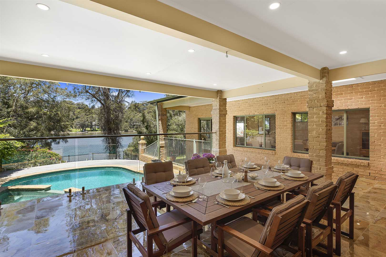 Covered Outdoor Dining & Entertaining, Pool, Spa & Lake View