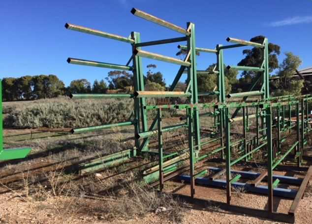 Various Light and Heavy Duty Steel racks. In good condition.