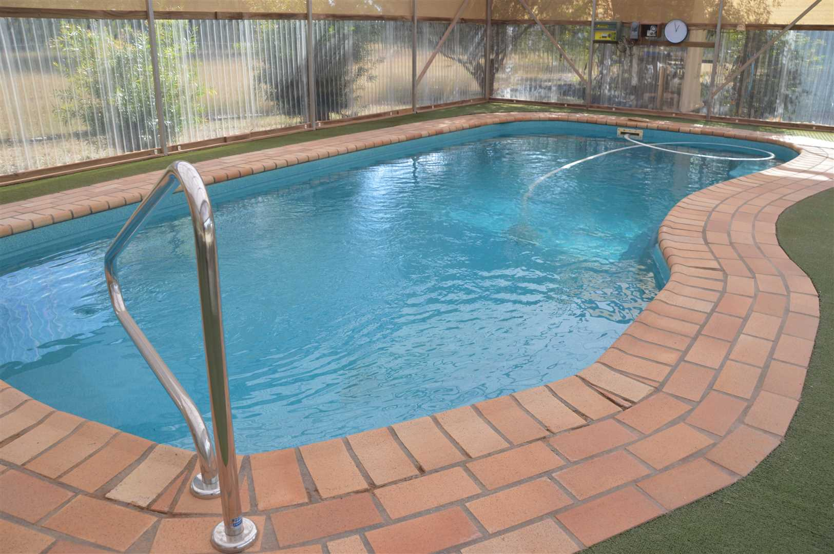 In ground, solar heated pool