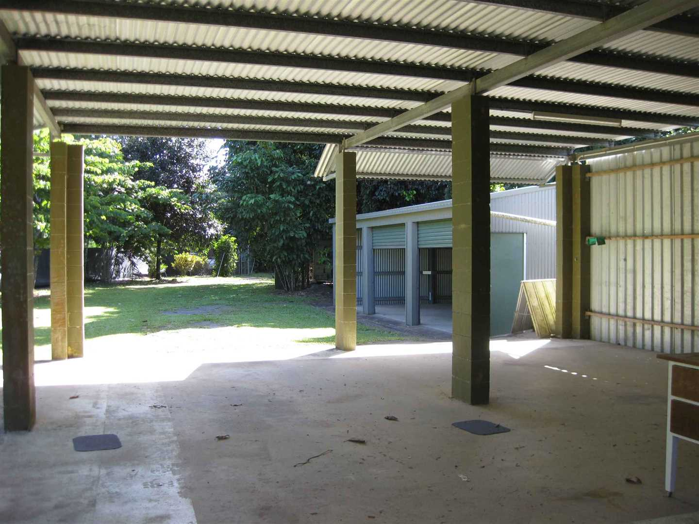 Inside view of part of two bay carport, photo 1