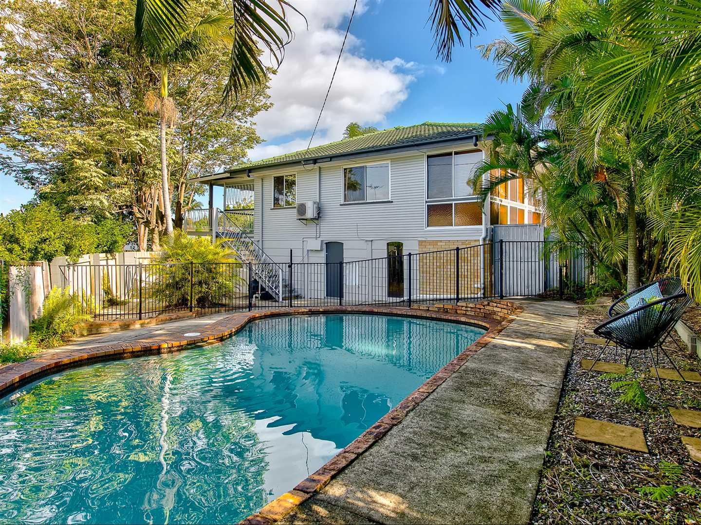 Large block, elevated entertainers deck & pool!