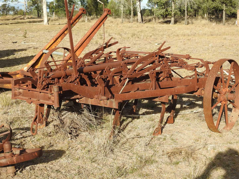 Old steel wheel trailing scarifier with harrows