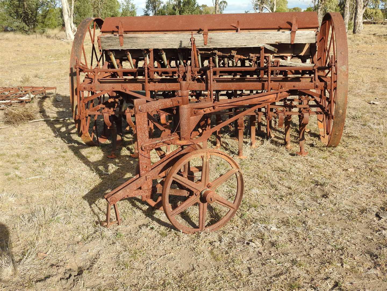 Very Old Mitchell, steel wheel combine seeder