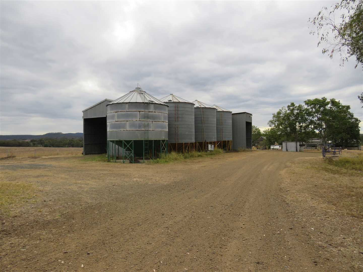 4 x 100 ton silos and drying shed