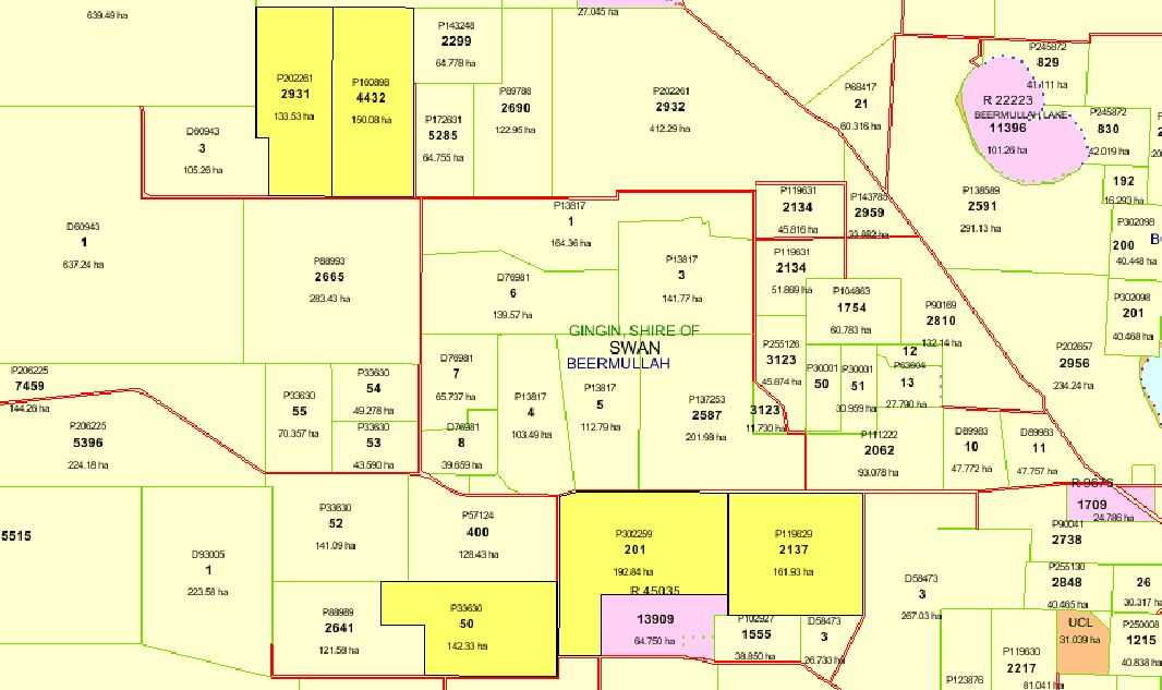Map showing 5 Lots