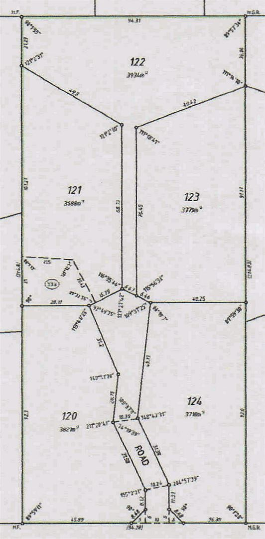 Plan of the subdivision Lot 124 is on bottom right
